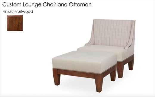 Custom Lounge Chair and Ottoman finished in Fruitwood