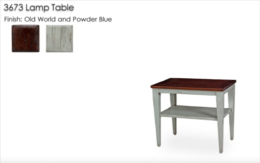 3673 Lamp Table finished in Old World and Powder Blue