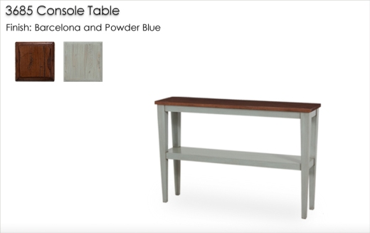 3685 Console Table finished in Barcelona and Powder Blue
