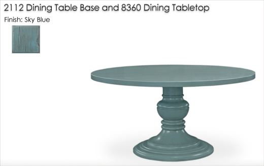 8360 DIning Tabletop and 2112 Dining Table Base finished in Sky Blue