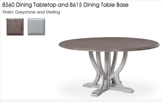 8360 DIning Tabletop Finished In Greystone And 8615 Dining