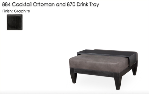 884 Cocktail Ottoman and 870Drink Tray finished in Graphite