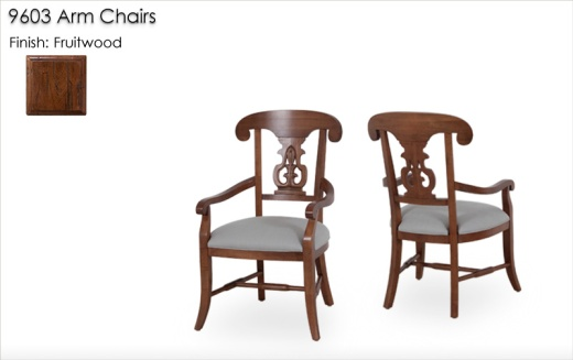 9603 Arm Chairs finished in Fruitwood