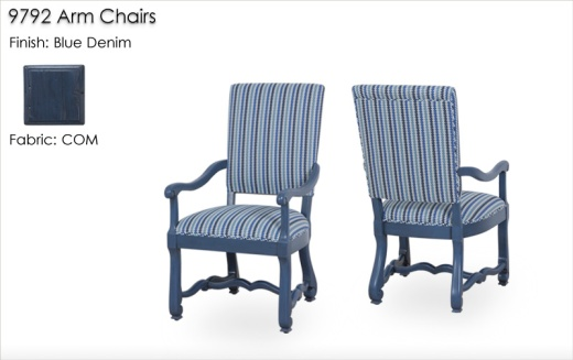 9792 Arm Chairs finished in Blue Denim