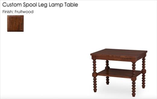 Custom Spool Leg Lamp Table finished in Fruitwood