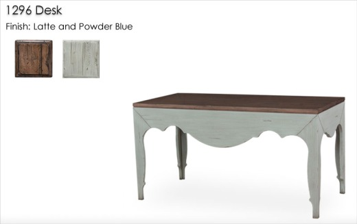 1296 Desk finished in Latte and Powder Blue