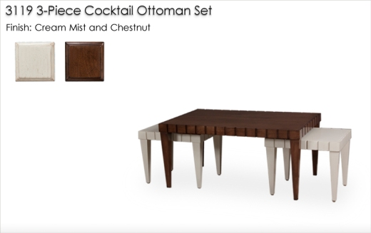 3119 Cocktail Table Set finished in Cream Mist and Chestnut