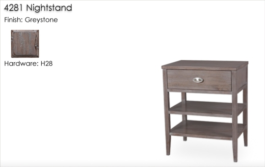 4281 Nightstand finished in Greystone with H20 Hardware