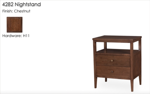 4282 Nightstand finished in Chestnut with H11 Hardware