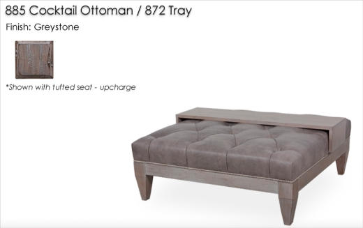 885 Cocktail Ottoman with Tufted Seat and 872 Tray finished in Greystone