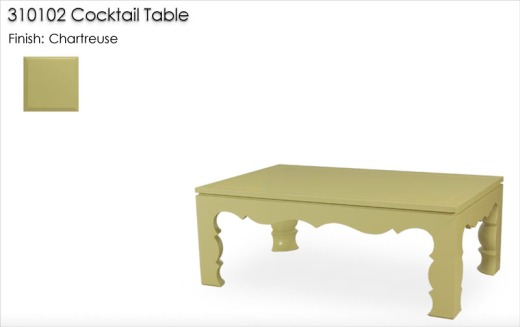 310102 Cocktail Table finished in Chartreuse