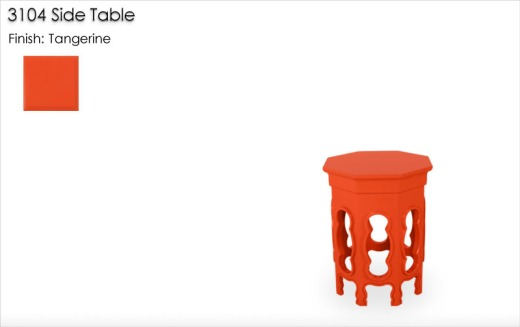 3104 Side Table finished in Tangerine