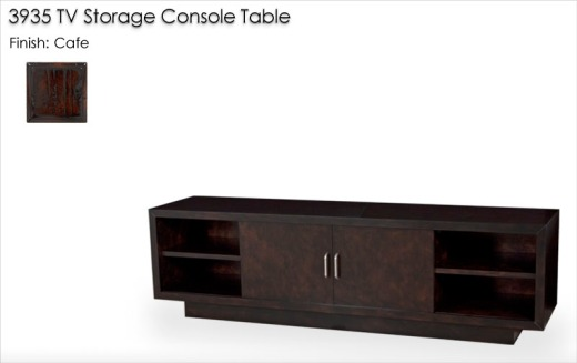 3935 TV Storage Console Table finished in Cafe