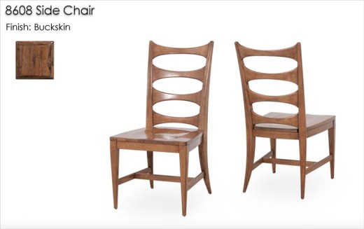 8608 Side Chair with wood seat finished in Buckskin