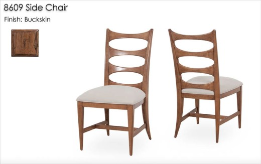 8609 Side Chair with upholstered seat finished in Buckskin