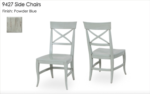 9427 Side Chairs finished in Powder Blue