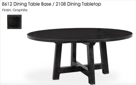 8612 Dining Table Base / 2108 Dining Tabletop finished in Graphite