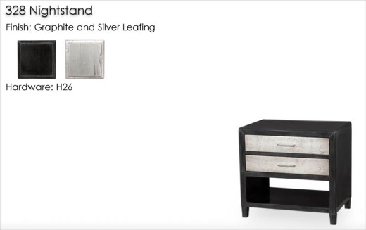 328 Nightstand finished in Graphite and Silver Leafing