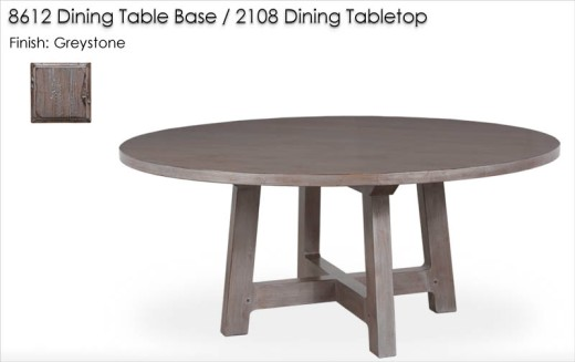 8612 Dining Table Base / 2108 Dining Tabletop finished in Greystone