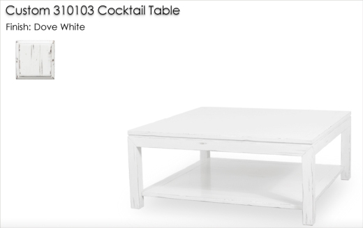 Custom 310103 Cocktail Table finished in Dove White