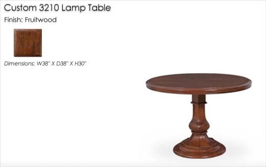 Custom 3210 Lamp Table finished in Fruitwood