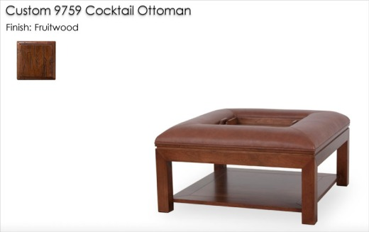 Custom 9759 Cocktail Ottoman finished in Fruitwood