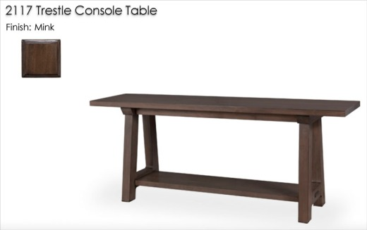2117 Trestle Console Table finished in Mink