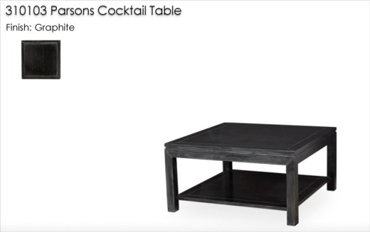310103 Parsons Cocktail Table finished in Graphite