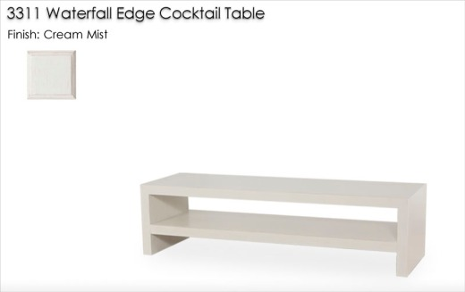 3311 Waterfall Edge Cocktail Table finished in Cream Mist