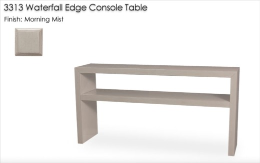 3313 Waterfall Edge Console Table finished in Morning Mist