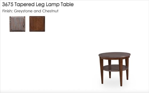 3675 Tapered Leg Lamp Table finished in Greystone and Chestnut