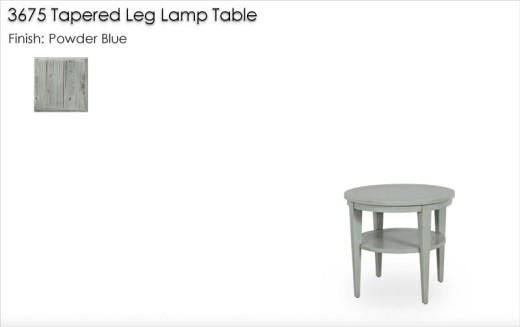 3675 Tapered Leg Lamp Table finished in Powder Blue