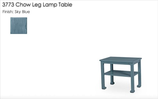 3773 Chow Leg Lamp Table finished in Sky Blue