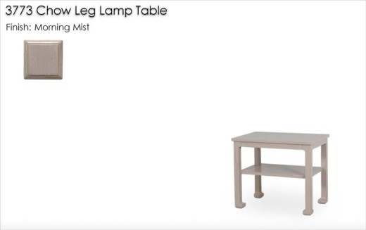 3773 Chow Leg Lamp Table finished in Morning Mist