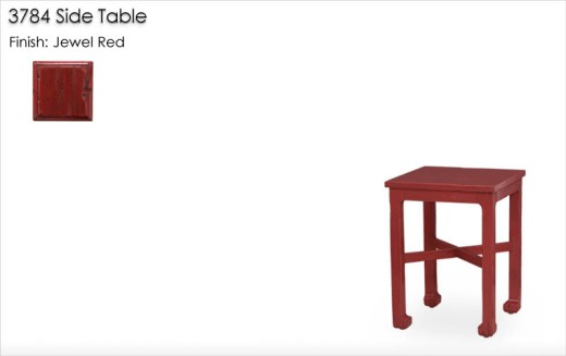 3784 Side Table finished in Jewel Red