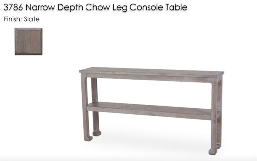 3786 Narrow Depth Chow Leg Console Table finished in Slate