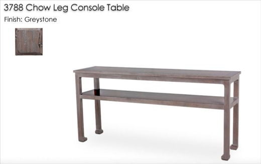 3788 Chow Leg Console Table finished in Greystone