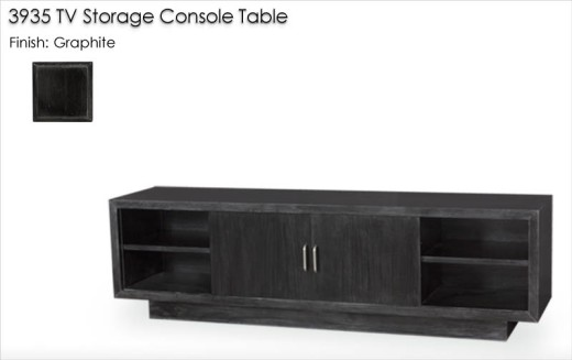 3935 TV Storage Console Table finished in Graphite