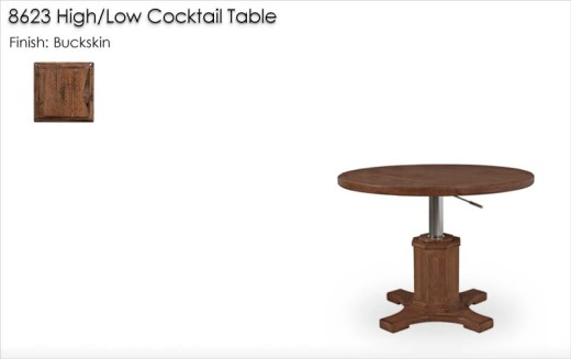 8623 High / Low Cocktail Table finished in Buckskin