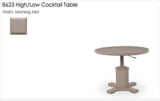 8623 High / Low Cocktail Table finished in Morning Mist