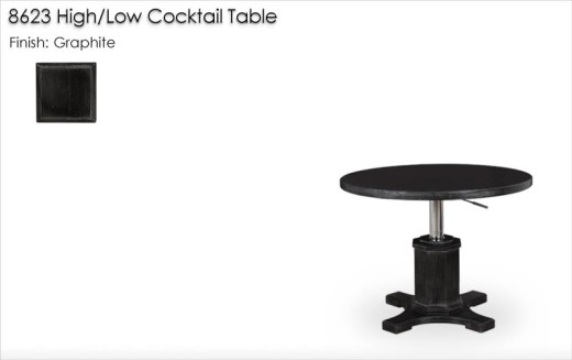 8623 High / Low Cocktail Table finished in Graphite
