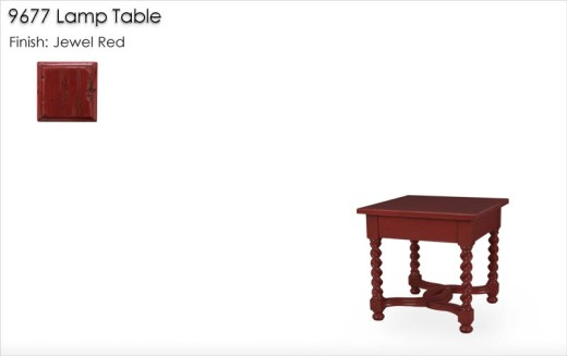 9677 Barley Twist Lamp Table finished in Jewel Red