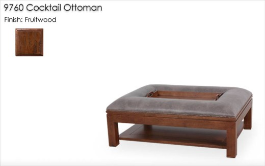9760 Cocktail Ottoman finished in Fruitwood