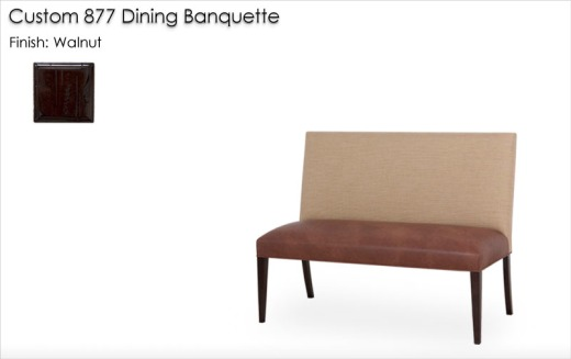 Custom 877 Dining Banquette finished in Walnut