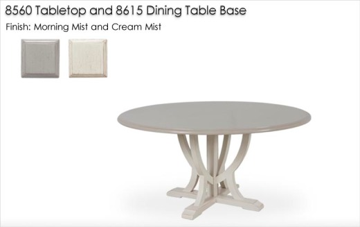 8560 Tabletop finished in Morning Mist and 8615 Dining Table Base   finished in Cream Mist