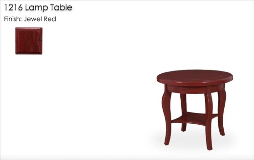 1216 Lamp Table finished in Jewel Red