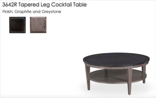 3642R Round Tapered Leg Cocktail Table finished in Graphite and Greystone