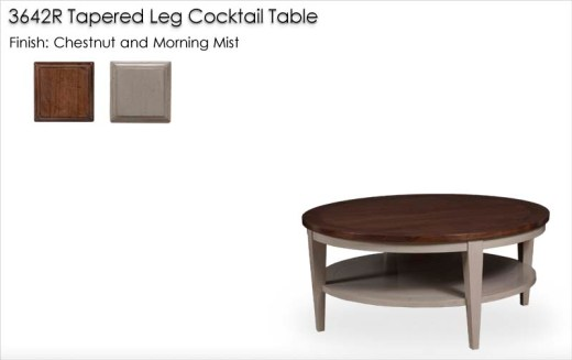 3642R Round Tapered Leg Cocktail Table finished in Chestnut and Morning Mist