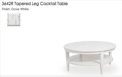 3642R Round Tapered Leg Cocktail Table finished in Dove White