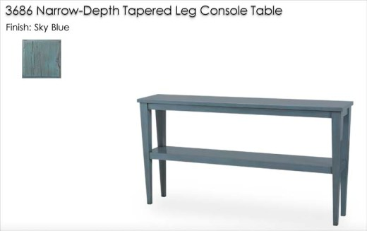 3686 Narrow-Depth Tapered Leg Console Table finished in Sky Blue